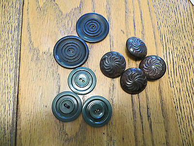 Vintage Collector Lot Buttons Bakelite? Plastic? Resins Green Brown Black