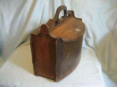 VTG Antique Old Handmade Wooden Bent Wood Sewing/ Knitting Box Double Hinged Lid