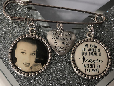 Groom Buttonhole 1 Photo Memorial 1 Poem Charm Gift Wedding Bridal Memory Pin