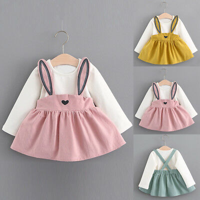 Fashion Toddler Baby Girls Rabbit Dress Long Sleeve Party Dresses Kids Outfit