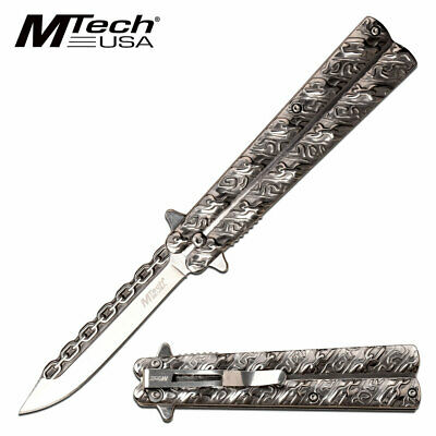 WOW! spring assist BUTTERFLY STYLE 100% S.S. SILVER  pocket knife CHAIN DESIGN