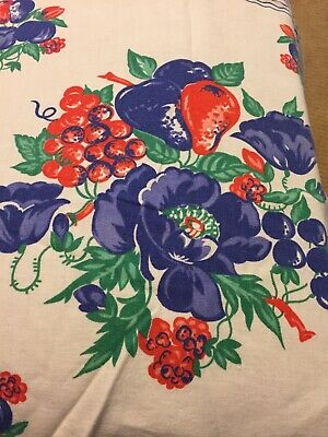 Vintage Small Tablecloth, Beautiful Vivid Blue And Red Fruit And Flowers