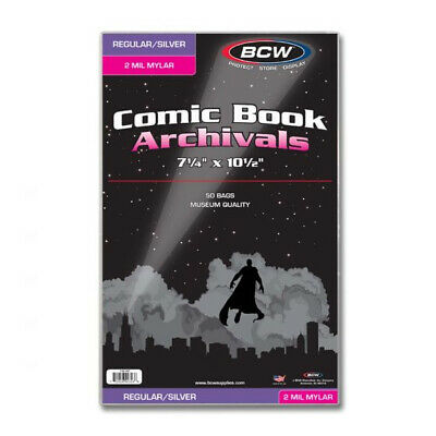 (5) Bcw Comic Book Silver Age 2 Mil Mylar Acid Free Storage Bag Holders