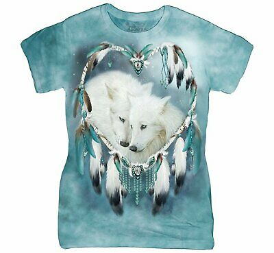 3817 White Wolf Feather Heart Native American The Mountain T-Shirt All Sizes