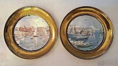 Vintage Foil Art Brass Plate Wall Hanging Pair Made In England 7.5 In Each