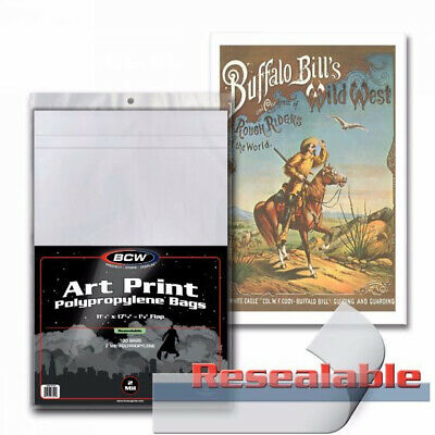 (5) BCW RESEALABLE 11x17 PHOTO PLAYBILL ART PRINT SOFT POLY STORAGE BAGS