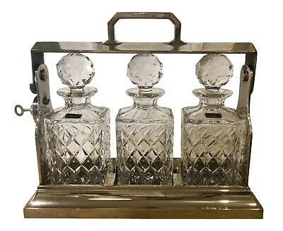 Antique English Silver Plate Tantalus W Cut Crystal Decanters - W Key