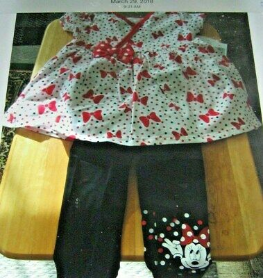 Disney Store Minnie Mouse Top and Leggings Set for Girls Size 12 Months NWT
