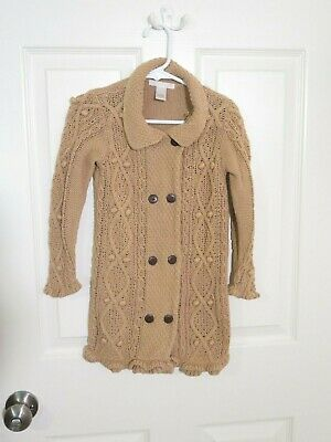Janie and Jack Girls Beige Sweater Knit Coat w/Buttons- size 3T