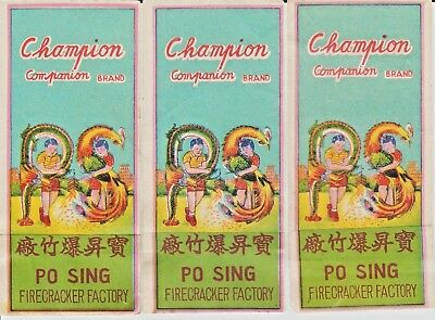 Lot of 3 Vintage Champion Companion Brand Firecracker Pack Labels