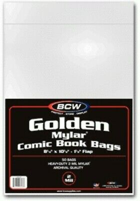 (4) Bcw Comic Book Golden Age 2 Mil Mylar Acid Free Storage Bag Holders