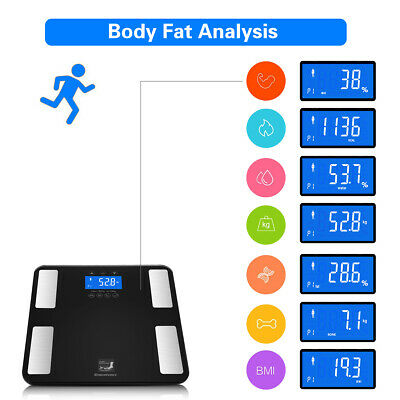 Digital Touch Body Fat Scale Water Muscle Calorie Bone Bathroom Weight 400lb US