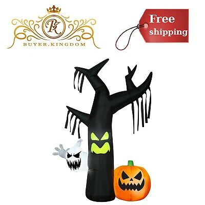 Halloween Yard Decorations Airblown Inflatables Ghostly Tree Scene 7ft Lights Up