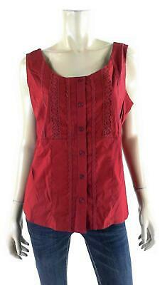 Faded Glory Stretch Lace-Inset Tank Blouse Womens size L Cotton Top Button Front