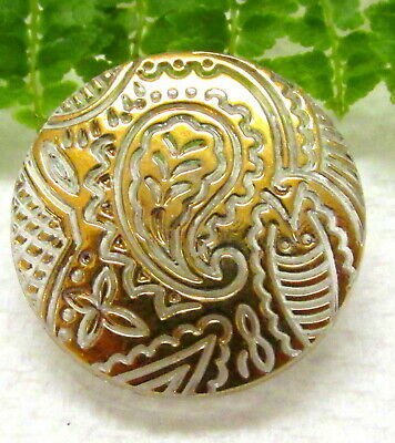 Interesting Vtg Clear Glass Button W/ Gold Overlay Paisley Design C73