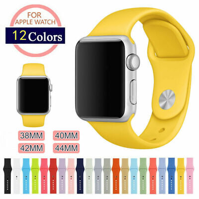 38/42mm 40/44mm Silicone Sports for Apple Watch Band Strap iWatch Series 5 4 3 2