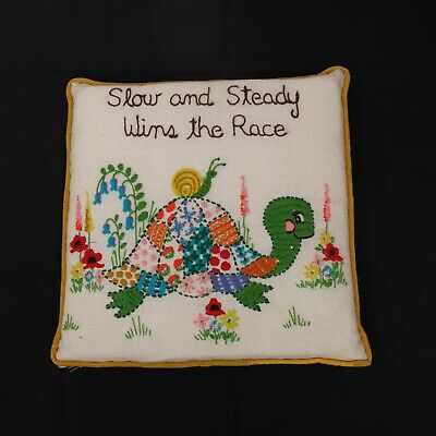 Vtg Kitsch Crewel Embroidered Finished Throw Pillow Patchwork Turtle & Snail