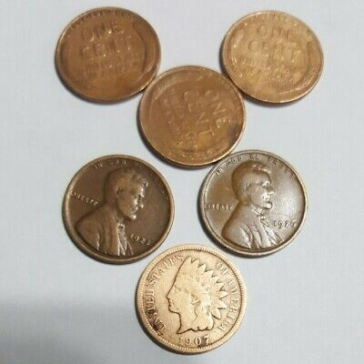 Junk Drawer Lot of Six Wheat Cents Pennies 1907, 1923, 1926, 1944, 1946s