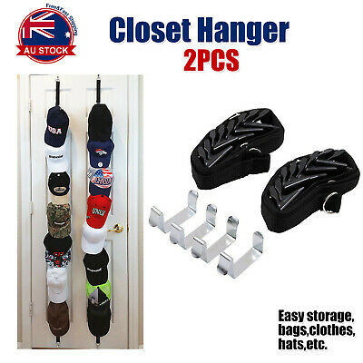 4 x Cap rack Holder Baseball Cap Hat Storage Organiser Shelf w/ 7 hooks Each A
