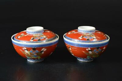 U3932: Japanese Old Imari-ware Person Karako pattern TEA BOWL/dish of soup 2pcs