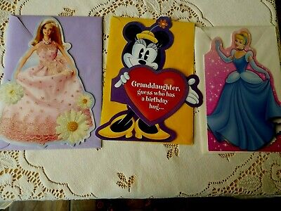 Vintage Barbie Cinderella  Minnie Mouse birthday cards new unused Hallmark USA