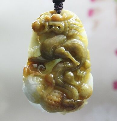 Certified Grade A Natural Multi-Color Jadeite Jade Carved Dragon Pendant #P824