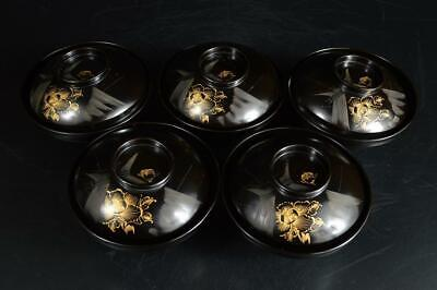 U5076: Japanese Wooden Flower gold-inlaid lacquer pattern SOUP BOWL/dish 5pcs