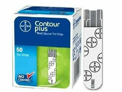 Bayer Contour Plus Diabetic Blood Glucose Test Strips Code Free 50 Count #