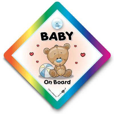 Baby On Board Sign, BLUE BEACH BALL, Suction Cup Car Window Sign For Baby