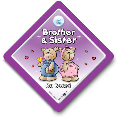 Brother and Sister on Board Car Sign, Baby On Board Sign, Suction Cup Sign