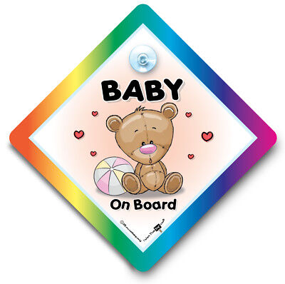 Baby On Board Sign, PINK BEACH BALL, Suction Cup Car Window Sign For Baby