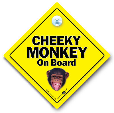 Cheeky Monkey On Board Car Sign, Suction Cup Car Sign, Chimp Baby On Board Sign