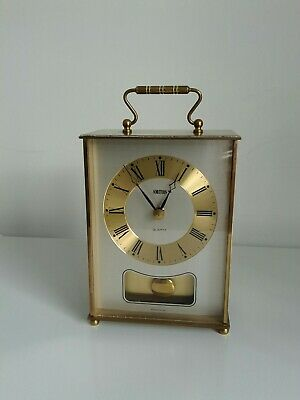 Vintage Smiths Bell Striking Pendulum Brass Carriage Mantel Clock  ( Working )