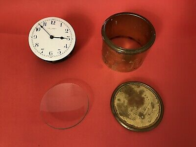 Vintage Brass Barrel Clock Glass Movement Enamel Face Parts Made In France SR FA