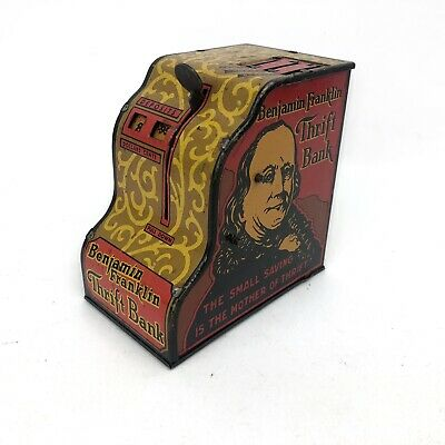 Antique 1931 Marx Benjamin Franklin Thrift Tin Cash Register Coin Bank USA