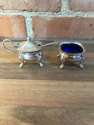 Pair Of Quality Silver Plate Salt Mustard Cellars Blue Glass Liners & Spoon