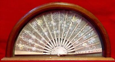Antique, Chinese Hand Fan, Hand Painted & Sequinned, Bone Sticks & Ribs. Cased