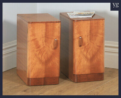 Antique Pair of Art Deco Mahogany Bedside Cupboards Cabinets Nightstands Tables