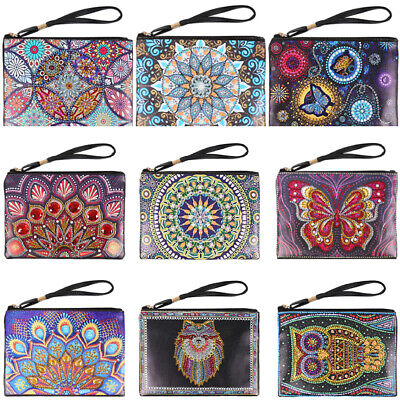 Mandala Special Shaped Diamond Painting Kit Wristlet Clutch Wallet Coin Purse AU