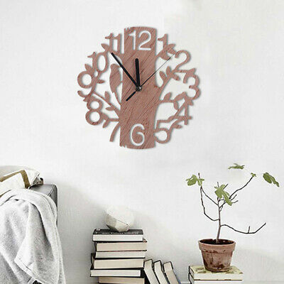 3D Wooden Tree and Bird Wall Clock Analog Home Office Decor \