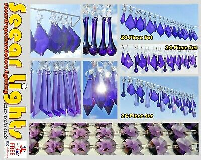 Purple Christmas Tree Decorations Glass Drops Crystals Chandelier Beads Droplets