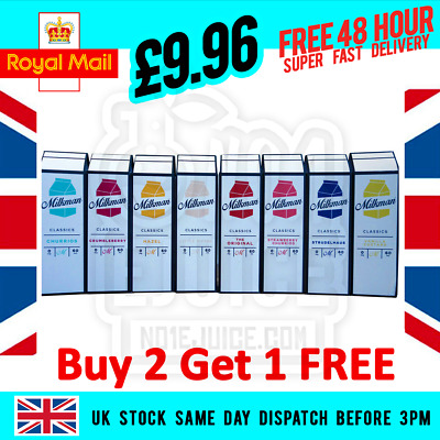 Milkman E-Liquid 50ml 0mg Shortfill + All Flavours Included + Free Delivery