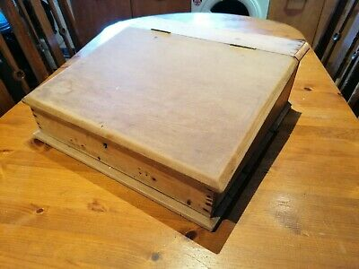 Vintage Wooden writing slope letter writing paper and envelope storage box.