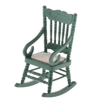 1/12 Scale BJD Miniature Furniture Wooden Rocking Chair for Dolls House