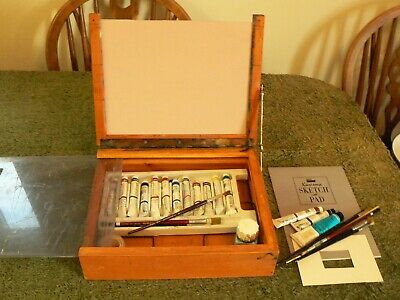 Oil Paint Box Wooden Small - With Oil Paints And Accessories