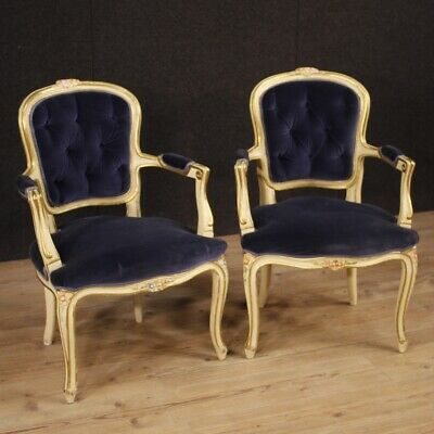 Pair of Armchairs Furniture Chairs Wooden Lacquered Golden Velvet Blue Style Old