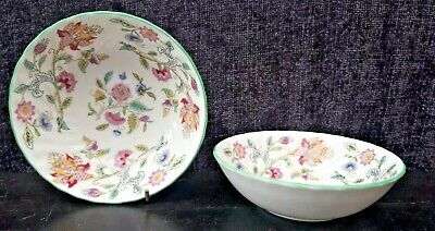 Minton Haddon Hall Green Edge - Small Cereal or Fruit Bowls  X 2