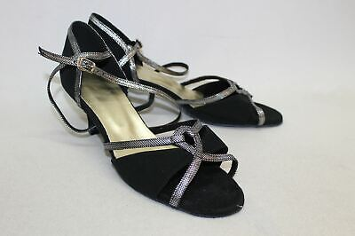 Ladies Black & Silver Faux Suede Open Toe Ankle Strap Shoes Size UK8