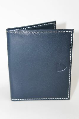 ASPINAL OF LONDON Navy Blue w/Red Lining Embossed ID And Travel Card Case Wallet