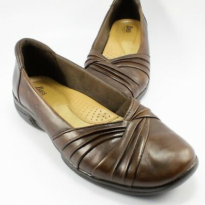 Bass Abby Casual Dress Flats Womens Size 8M Brown Leather Slip-Ons Loafers Pumps